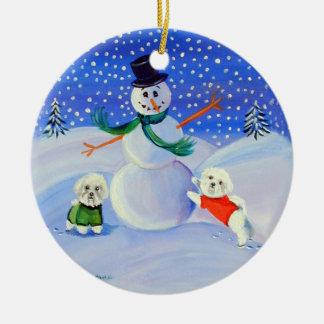 Bichon Frise Circle Ornament