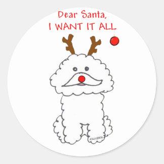 Bichon Frise Dear Santa Classic Round Sticker