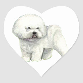 Bichon Frise Dog Art Heart Sticker