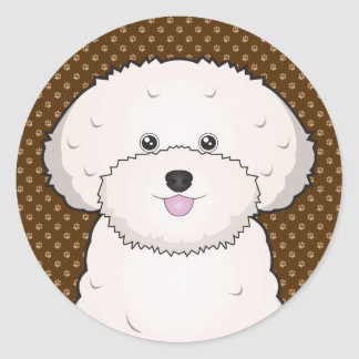 Bichon Frise Dog Cartoon Paws Classic Round Sticker