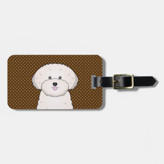 Bichon Frise Dog Cartoon Paws Luggage Tag
