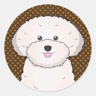 Bichon Frise Dog Cartoon Paws Round Sticker
