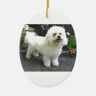 Bichon Frisé Dog Ceramic Oval Ornament