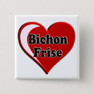 Bichon Frise Dog on Heart for dog lovers 2 Inch Square Button