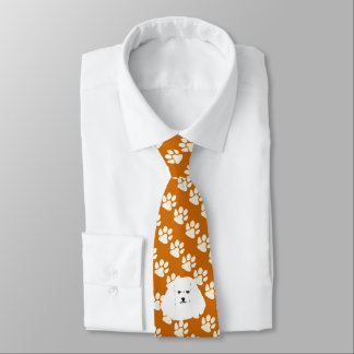Bichon Frise Dog on rust with white Paw Prints Tie
