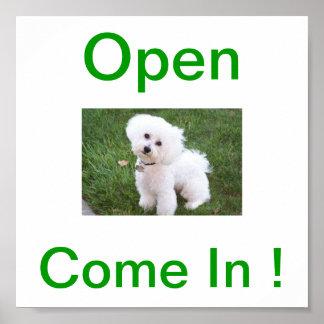 Bichon Frise Dog Open Sign