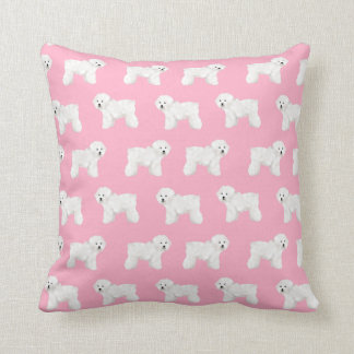 Bichon Frise Dog Pillow - pink dog