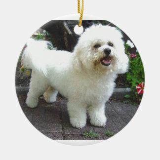 Bichon Frisé Dog Round Ceramic Ornament