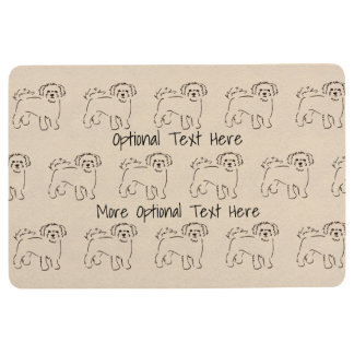 Bichon Frise Drawing - Optional Personalized Text Floor Mat