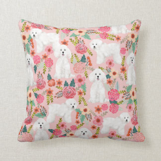 Bichon Frise floral dog pillow