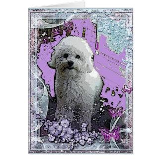 Bichon Frise Floral greeting Card