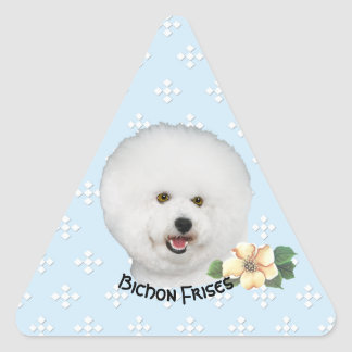 Bichon Frise, Floral on Blue with White Diamonds Triangle Sticker