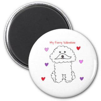 Bichon Frise Furry Valentine 2 Inch Round Magnet
