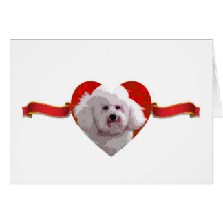 Bichon Frise Heart & Ribbon Cards
