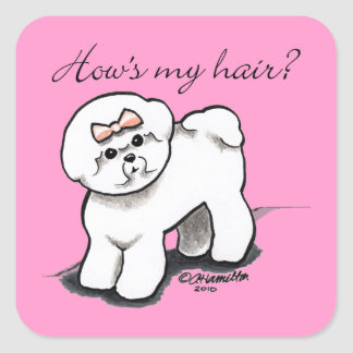 Bichon Frise Hows My Hair Square Sticker