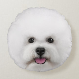 Bichon Frise Illustrated Round Pillow