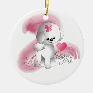 Bichon Frise Love Puppy Dog Round Ceramic Ornament