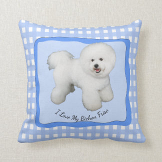 Bichon Frise on Blue Gingham (cotton) Throw Pillow