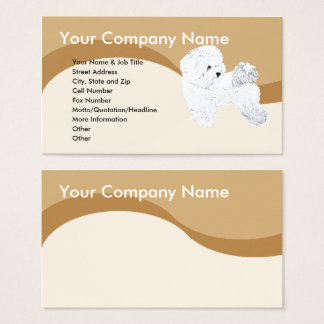 Bichon Frise on Brown Wave Business Card