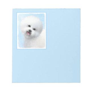 Bichon Frise Painting - Cute Original Dog Art Notepad