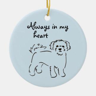 Bichon Frise Personalized Pet Memory Round Ceramic Ornament