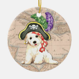 Bichon Frise Pirate Round Ceramic Ornament