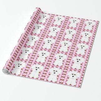 Bichon Frise Polka Dot Wrapping Paper