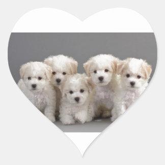 Bichon Frisé Puppies Heart Sticker