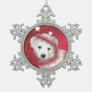 Bichon frise puppy Christmas Pewter Snowflake Ornament