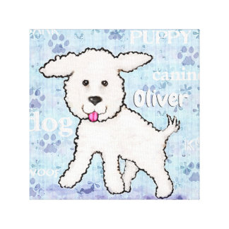 Bichon Frise Puppy Dog Custom Name Canvas