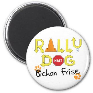 Bichon Frise Rally Dog 2 Inch Round Magnet