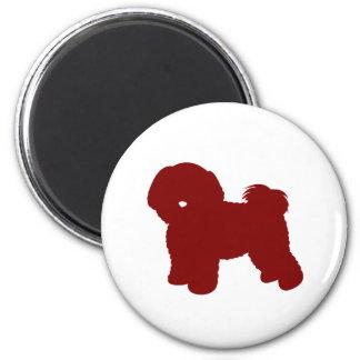 Bichon Frise (Red) 2 Inch Round Magnet