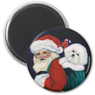 """Bichon Frise & Santa"" Dog Art Magnet"