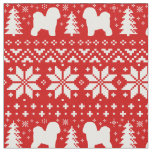 Bichon Frise Silhouettes Christmas Pattern Red Fabric