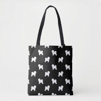 Bichon Frise Silhouettes Pattern Tote Bag