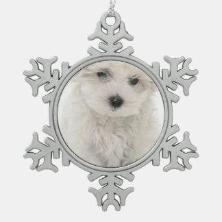 Bichon Frise Snowflake Pewter Christmas Ornament