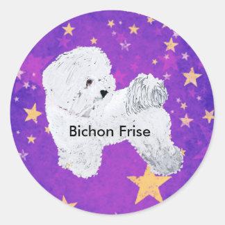 Bichon Frise with Purple and gold Stars Round Sticker