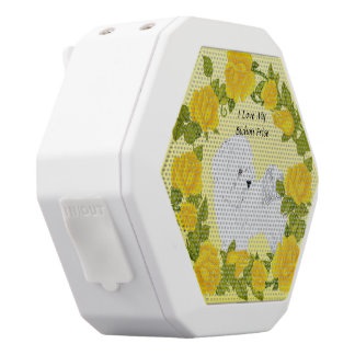 Bichon Frise with Yellow Roses White Bluetooth Speaker