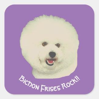 Bichon Frises Rock!! on purple Square Sticker
