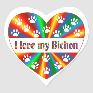 Bichon Love Heart Sticker