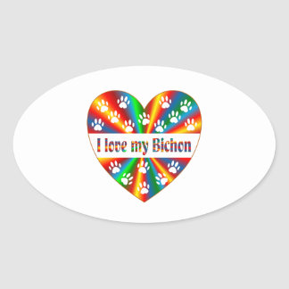Bichon Love Oval Sticker