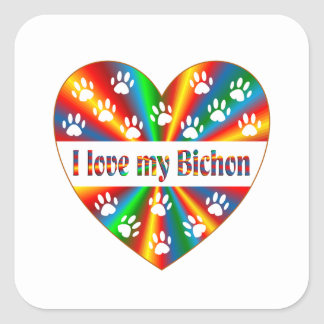 Bichon Love Square Sticker