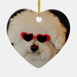 Bichons are Angels Ceramic Heart Ornament