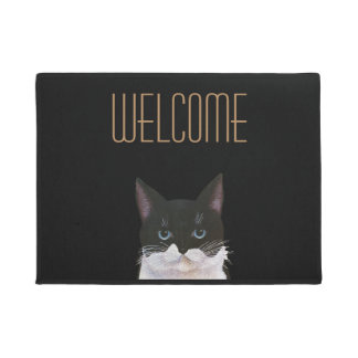Bicolor, black and white welcome cat doormat