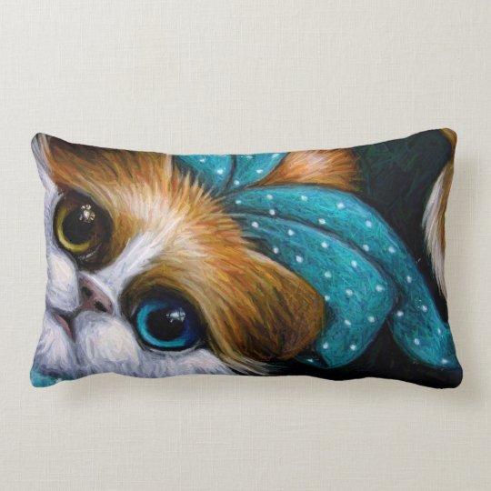 """BICOLOR ODD EYES CAT & BOW Lumbar Pillow 13""""x21"""""""