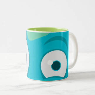 Bicolored mug Eyes Blue Monster