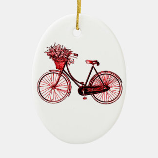 Bicycle 2 ceramic oval ornament