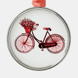 Bicycle 2 Silver-Colored round ornament