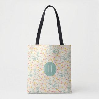Bicycle and Flowers Monogram Tote Bag
