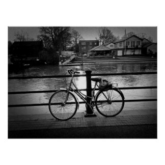 Bicycle at the river poster